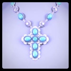 """Turquoise Green Cross Necklace Lobster Clasp 16"""" L"""